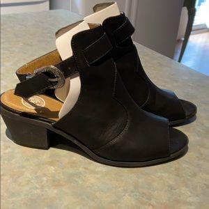 Women's black leather summer booties